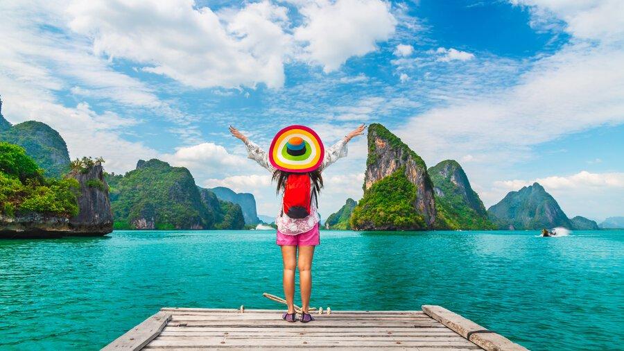 Adventure traveler woman joy fun beautiful nature scenic landscape island Phang-Nga bay, Attraction landmark tourist travel Phuket Thailand summer holiday vacation trip, Tourism destination place Asia