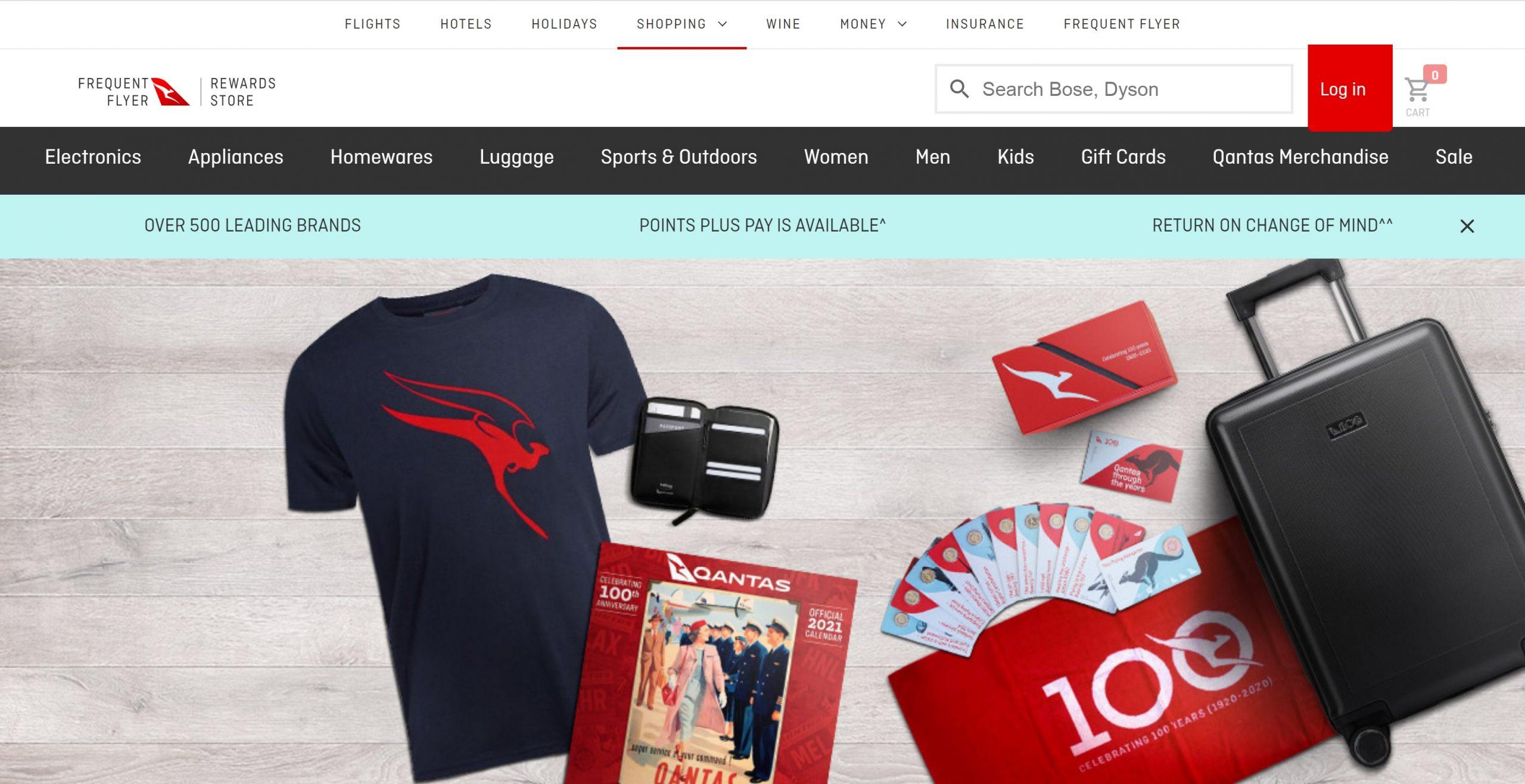 Qantas Rewards Store Website